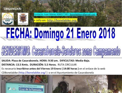 Ruta de Senderismo. Ruta del Campamento. Casarabonela – Campamento Sierra Prieta ( Oje ) – Carril Sierra – Casarabonela. Fecha: Domingo 21 Enero 2018