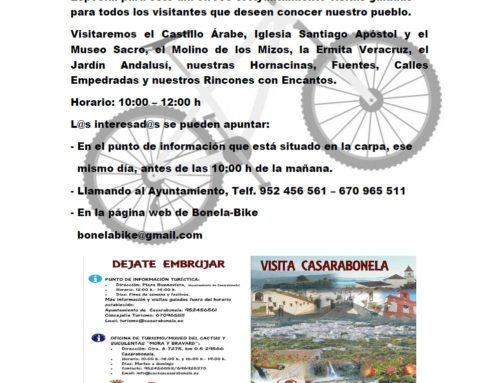 Visita Turismo Casarabonela. Gratis para acompañantes corredores Media Maratón BTT 28 Febrero 2019