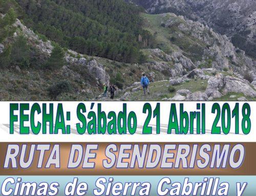 Ruta de Senderismo. Casarabonela.  Ruta a Cimas Sierra Cabrilla y Sierra Prieta desde el Puerto Martínez. Fecha: Sábado 21 Abril 2018
