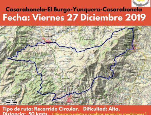 Ruta de Senderismo. Travesía de resistencia Circular Casarabonela-El Burgo-Yunquera-Casarabonela. Fecha: Viernes 27 Diciembre 2019