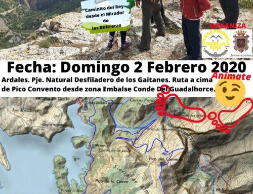 PRÓXIMA Ruta de Senderismo.  Ardales. Paraje Natural Desfiladero de los Gaitanes. Ruta a cima de Pico Convento desde zona Embalse Conde Del Guadalhorce. Fecha: Domingo 2 Febrero 2020.
