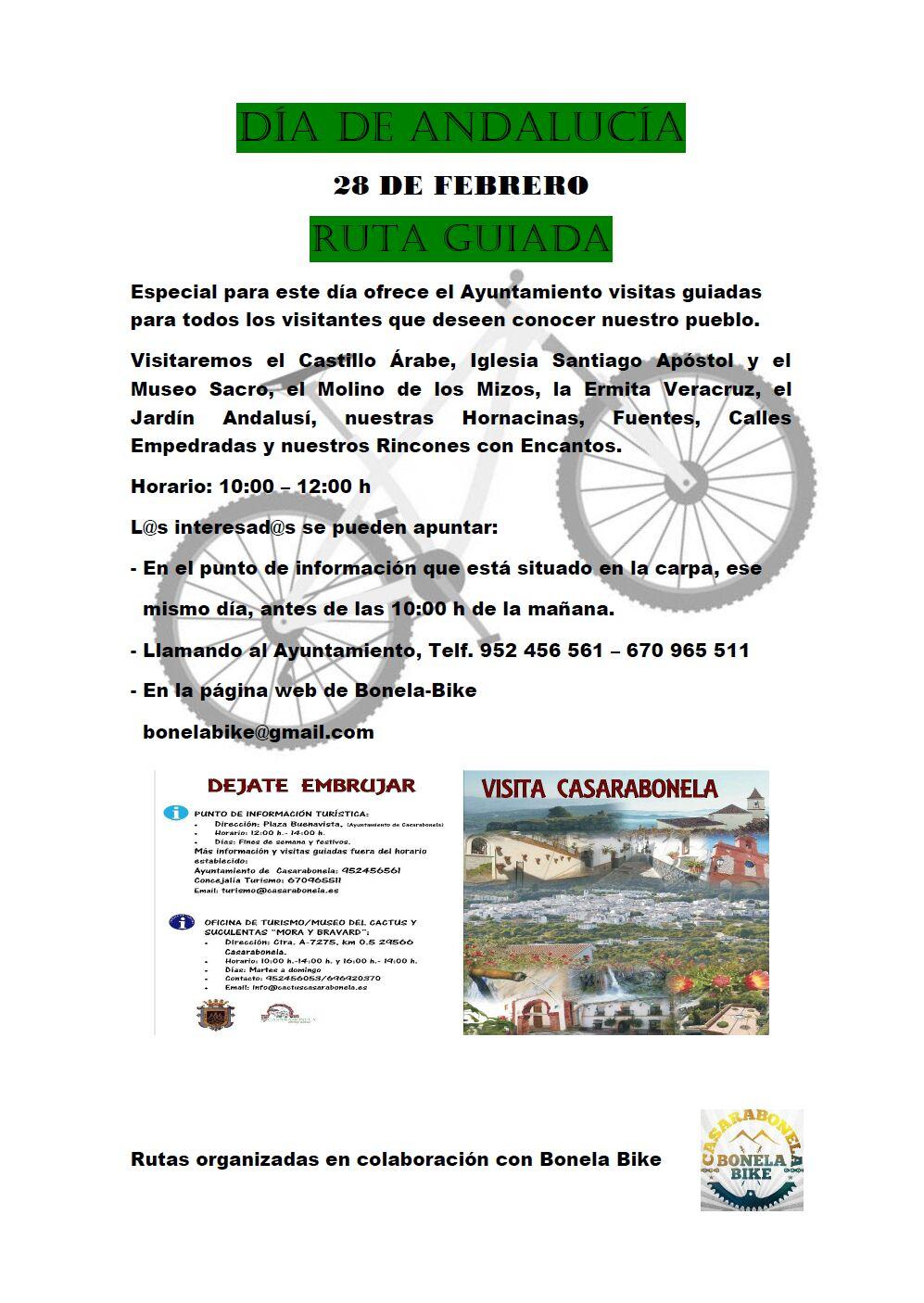 Visita Turismo Casarabonela. Gratis para acompañantes corredores Media Maratón BTT 28 Febrero 2020