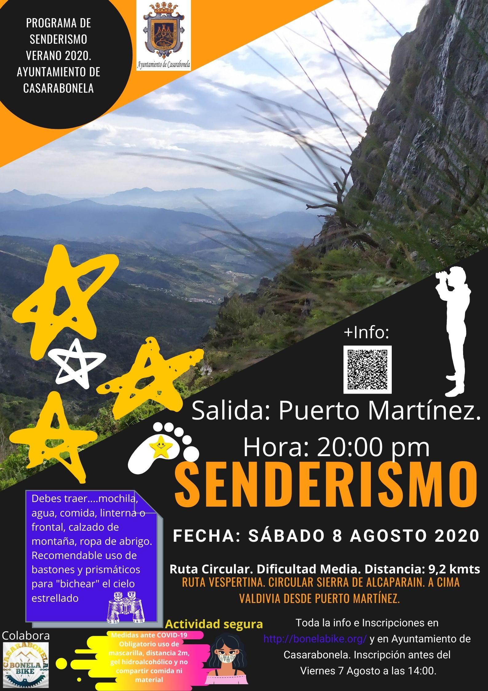 Ruta de Senderismo. Vespertina Circular Sierra de Alcaparain. A cima Valdivia desde Puerto Martínez. Fecha: Sábado 8 Agosto 2020.